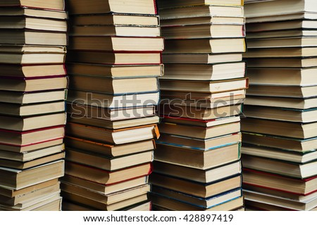 Many books in a bookstore or library - stock photo