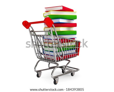 Many books on shopping cart on a white background