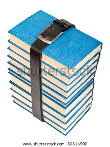 Many books tightened with black leather belt