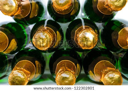 Many bottles of champagne. Photo Close-up - stock photo
