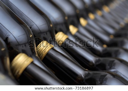 Many bottles of wine in the store - stock photo