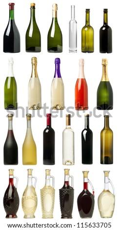 Many Bottles of Wine with White Background - stock photo