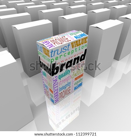 Many boxes on a store shelf, one with the word Brand to differentiate it as being the best choice, most reputable or credible, and top in popularity and loyalty - stock photo