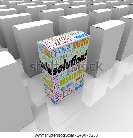 Many boxes on a store shelf, one with the word Solution to illustrate your best choice for solving your problem or overcoming a unique challenge - stock photo