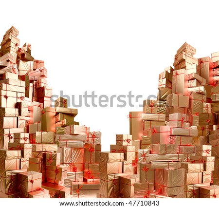 Many boxes packed by brilliant paper is collected in greater heap. - stock photo