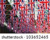 Many british flags in one frame - stock photo