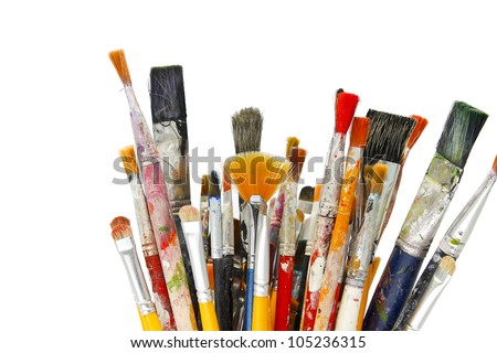 many brushes with white background - stock photo