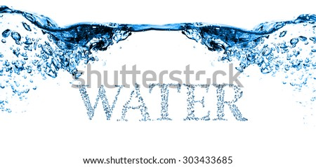 many bubbles in water close up - stock photo
