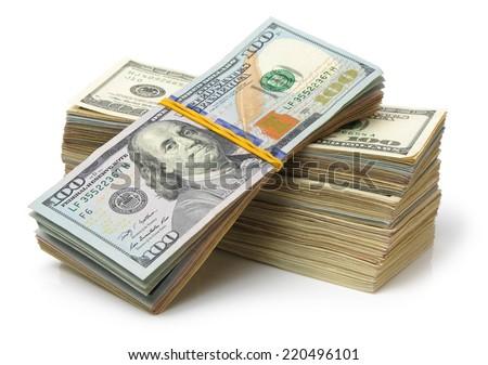 Many bundle of US 100 dollars bank notes isolated on white background  - stock photo