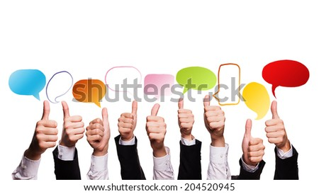many business hands with thumbs up and speech bubbles - stock photo