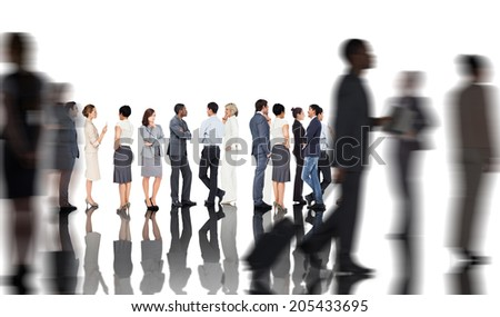 Many business people standing in a line with silhouettes of business people
