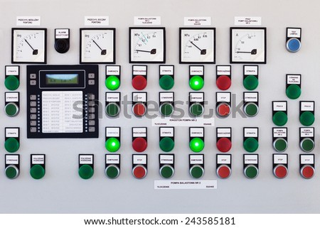Many buttons and switches - control panel in a machine. - stock photo