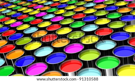 many cans of paint colors like a factory - stock photo
