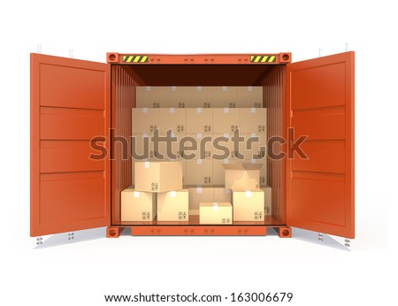 Many cardboard boxes in opened container  - stock photo