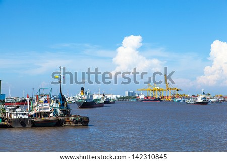 Many cargo ships. Large rivers. Harbor freight industry. - stock photo