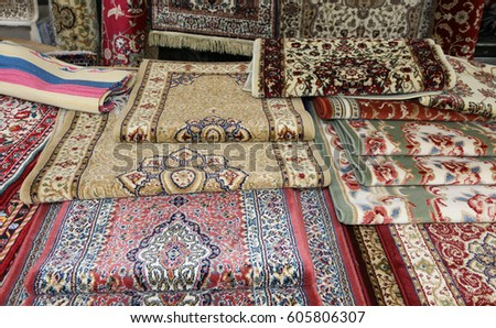 many carpets for sale in the ethnic market stall - Carpets For Sale