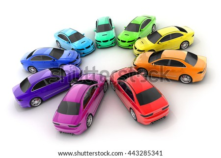 Many cars colour on a white background  (done in 3d rendering)