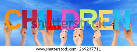 Many Caucasian People And Hands Holding Colorful Straight Letters Or Characters Building The English Word Children On Blue Sky - stock photo
