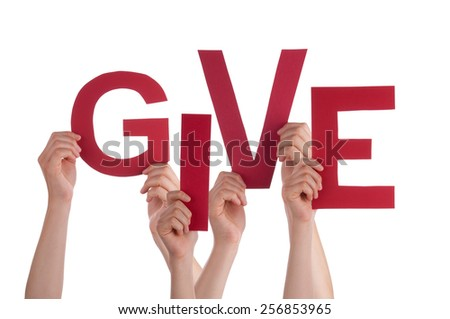 Many Caucasian People And Hands Holding Red Letters Or Characters Building The Isolated English Word Give On White Background - stock photo