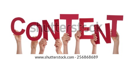 Many Caucasian People And Hands Holding Red Letters Or Characters Building The Isolated English Word Content On White Background - stock photo