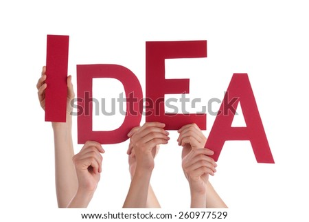 Many Caucasian People And Hands Holding Red Letters Or Characters Building The Isolated English Word Idea On White Background - stock photo