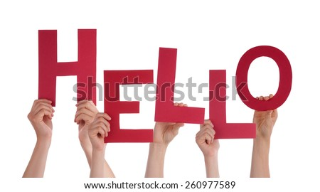 Many Caucasian People And Hands Holding Red Letters Or Characters Building The Isolated English Word Hello On White Background - stock photo