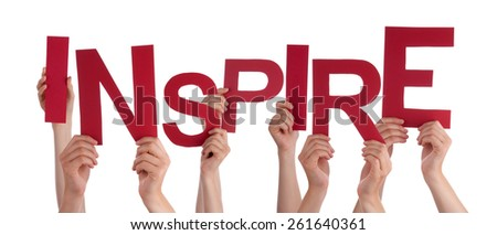 Many Caucasian People And Hands Holding Red Letters Or Characters Building The Isolated English Word Inspire On White Background - stock photo