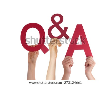 Many Caucasian People And Hands Holding Red Letters Or Characters Building The Isolated English Word Q And A Means Questions And Answers On White Background - stock photo