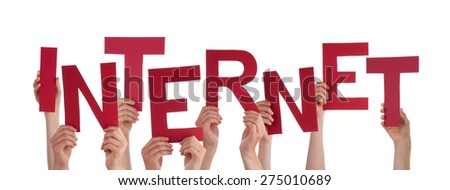 Many Caucasian People And Hands Holding Red Letters Or Characters Building The Isolated English Word Internet On White Background - stock photo