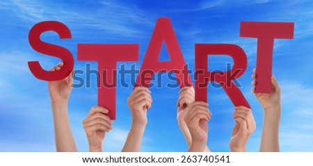 Many Caucasian People And Hands Holding Red Straight Letters Or Characters Building The English Word Start On Blue Sky - stock photo