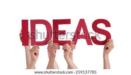 Many Caucasian People And Hands Holding Red Straight Letters Or Characters Building The Isolated English Word Ideas On White Background - stock photo