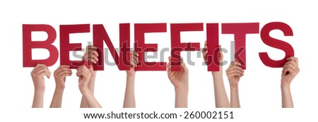 Many Caucasian People And Hands Holding Red Straight Letters Or Characters Building The Isolated English Word Benefits On White Background - stock photo