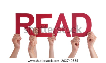 Many Caucasian People And Hands Holding Red Straight Letters Or Characters Building The Isolated English Word Read On White Background - stock photo