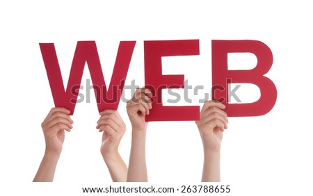 Many Caucasian People And Hands Holding Red Straight Letters Or Characters Building The Isolated English Word Web On White Background - stock photo