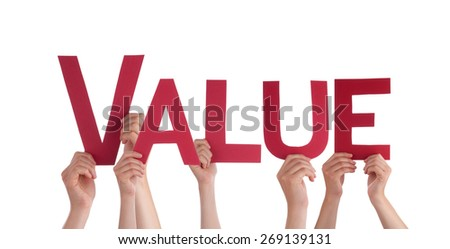 Many Caucasian People And Hands Holding Red Straight Letters Or Characters Building The Isolated English Word Value On White Background - stock photo