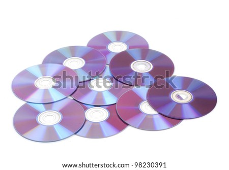Many cd's disks isolated on white background - stock photo