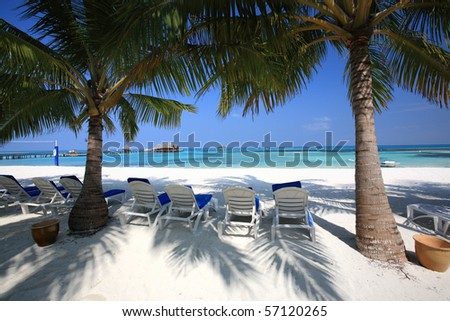 many chair on the beach, maldives island