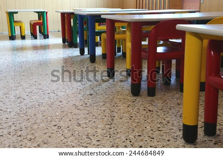 many chairs and tables of kindergarten without children - stock photo