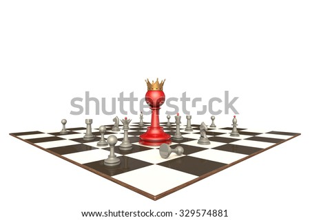 Many chess pieces and red pawn-king on a white background isolation. - stock photo