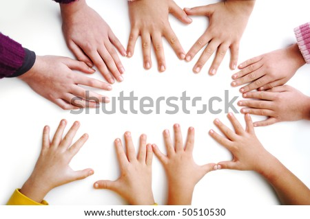 Many children hands on white - stock photo