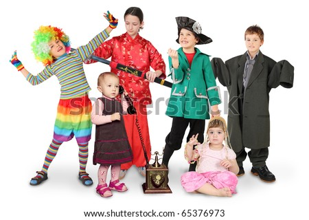 many children in costumes, clown, businessman, pirate, fighter, with phone, bellydance on white collage