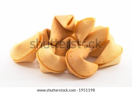 Many Chinese fortune cookies stacked up, on white background - stock photo