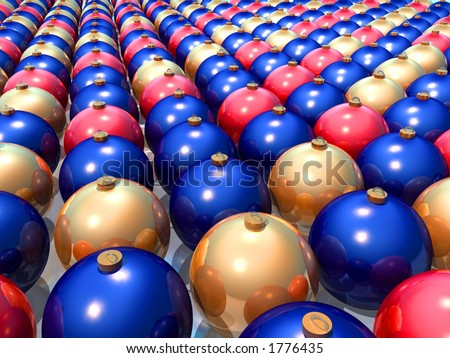 Many christmas balls in a 3d