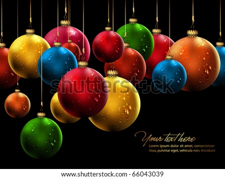 Many Christmas Balls with Shiny Water Drops | Greeting Card Background - stock photo