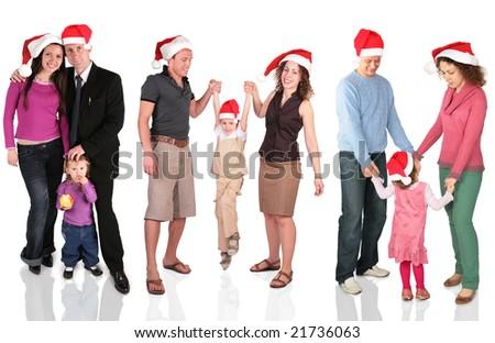 many christmas families - stock photo