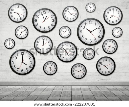 Many Clocks on wall