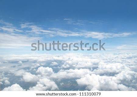 many cloud in blue sky - stock photo