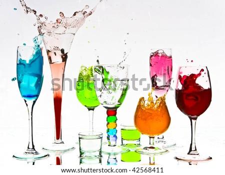 many cocktail splashes - stock photo
