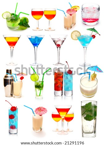 Many cocktails isolated on white background - stock photo