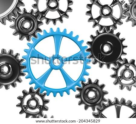 Many Cogwheels Engaged 3D Illustration Isolated on White Background - stock photo